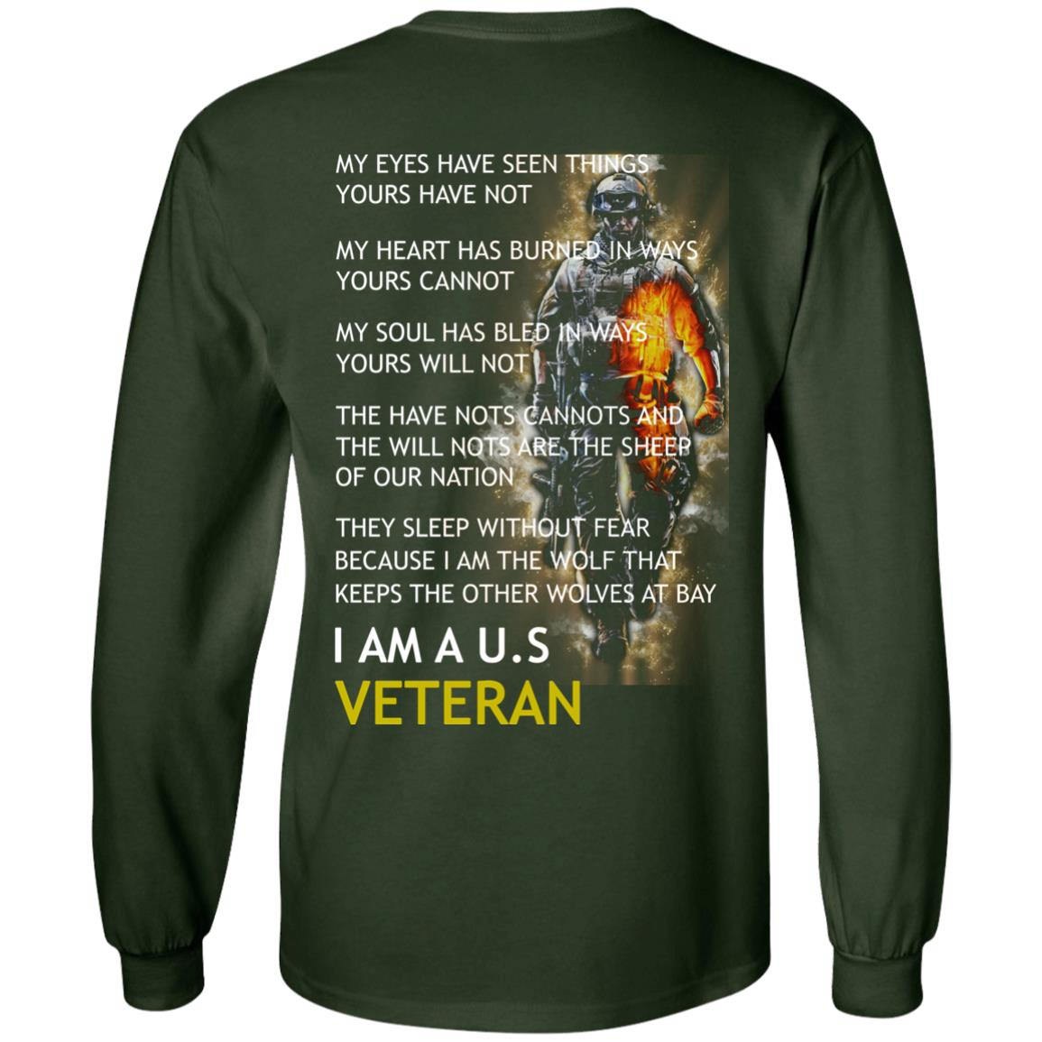image 4px I am a US Veteran my eyes have seen things yours have not back side t shirt, hoodies
