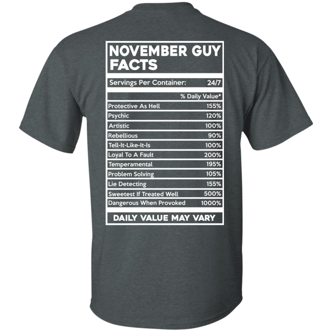 image 631px November Guy Facts Servings Per Container 24/7 T Shirts
