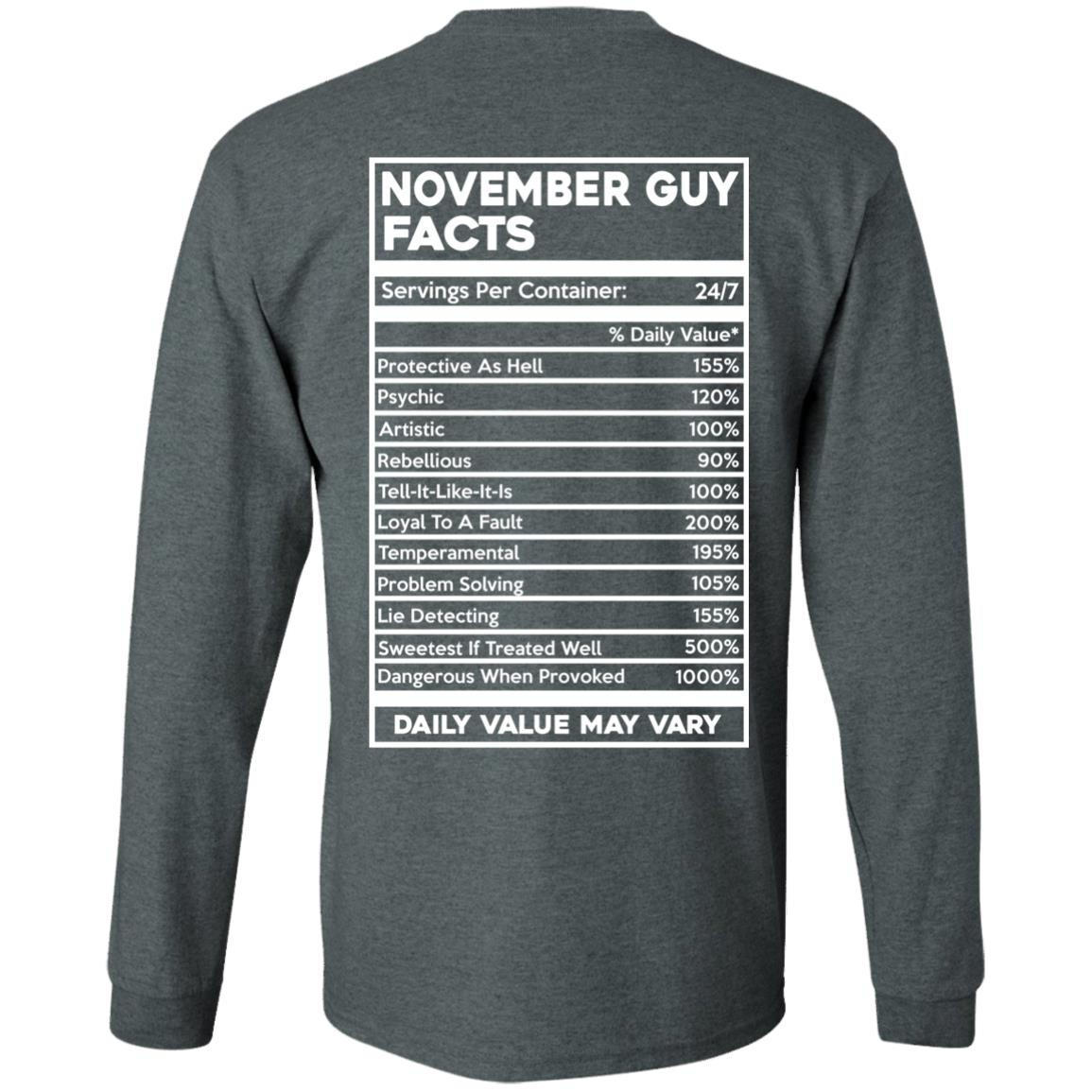 image 634px November Guy Facts Servings Per Container 24/7 T Shirts