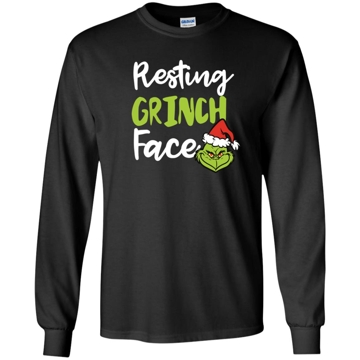 image 1489px Resting Grinch Face Christmas T Shirts, Long Sleeve