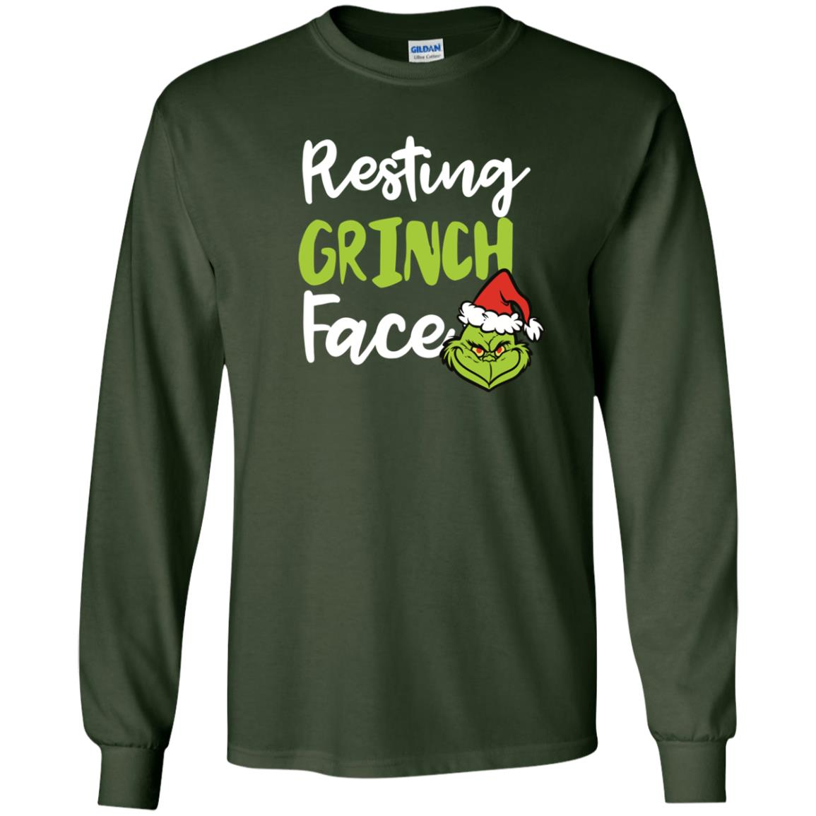 image 1490px Resting Grinch Face Christmas T Shirts, Long Sleeve