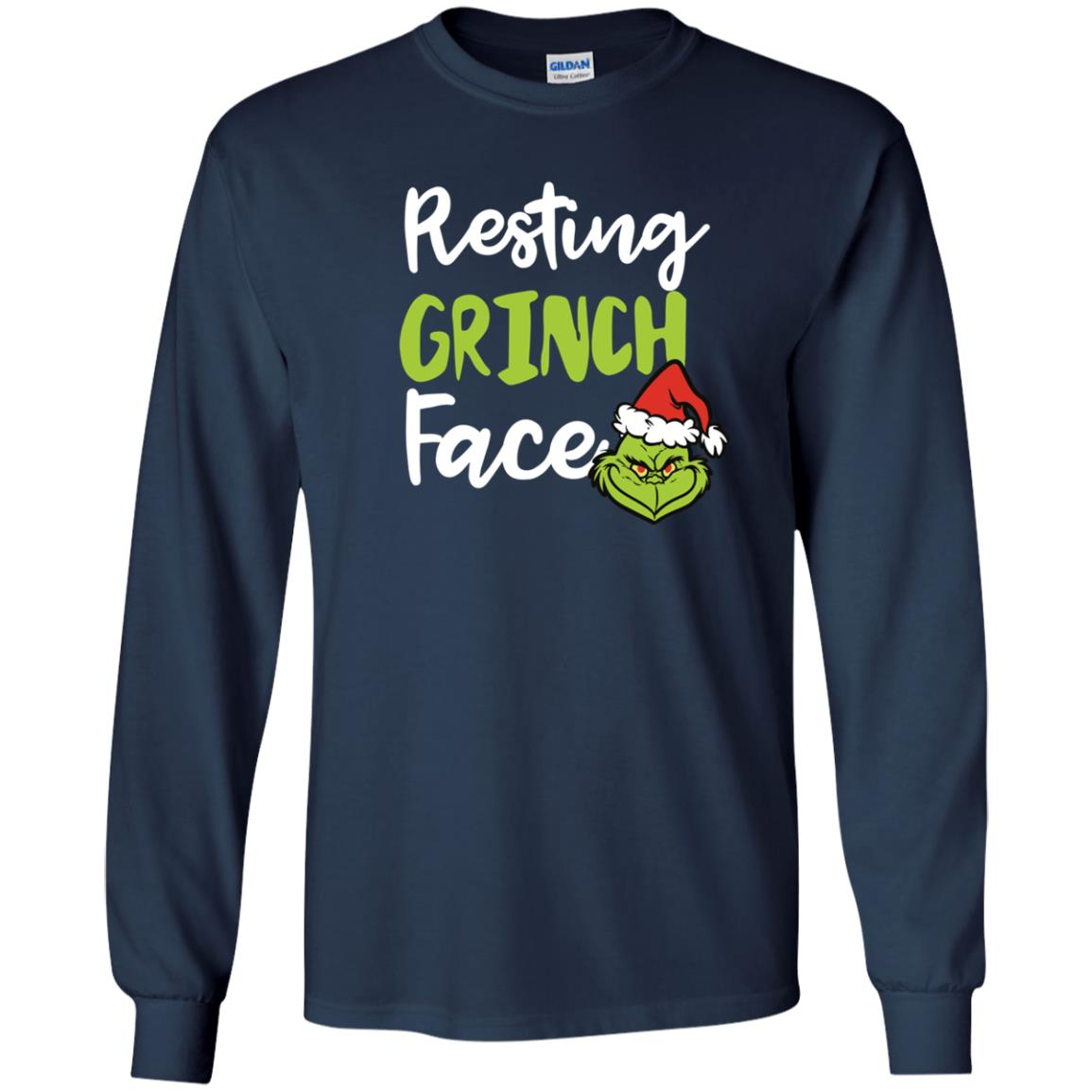 image 1491px Resting Grinch Face Christmas T Shirts, Long Sleeve