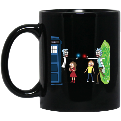 image 4 490x490px Doctor Who vs Rick and Morty Mashup Design Coffee Mug