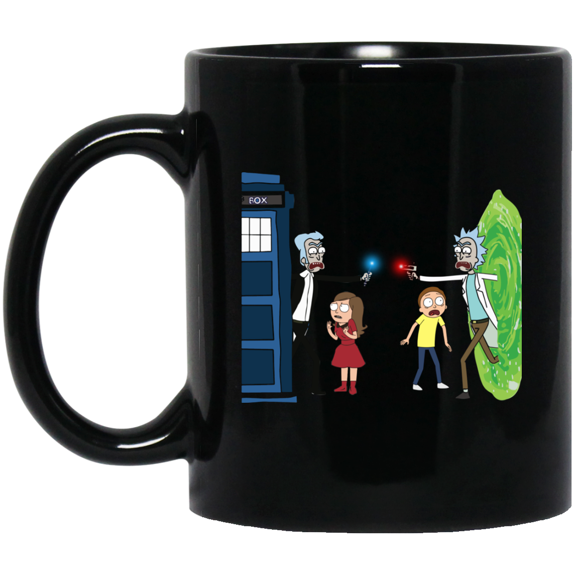 image 4px Doctor Who vs Rick and Morty Mashup Design Coffee Mug