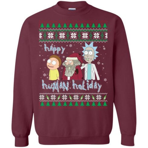 image 451 490x490px Rick and Morty: Happy Human Holiday Christmas Sweater