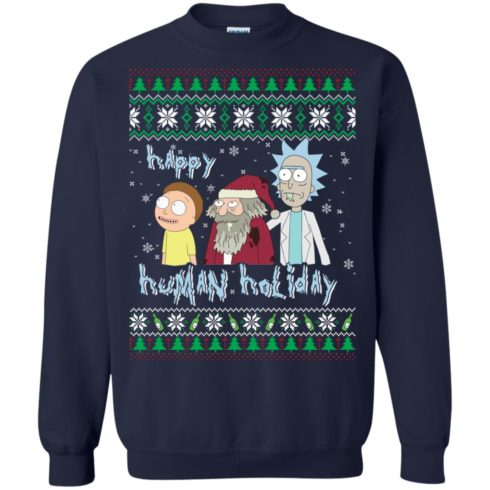 image 452 490x490px Rick and Morty: Happy Human Holiday Christmas Sweater