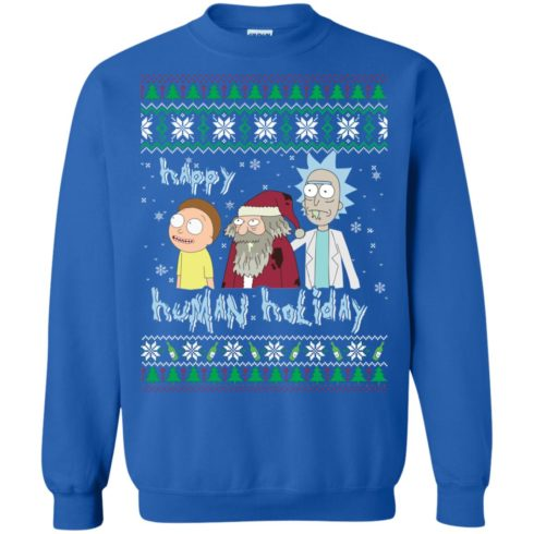 image 455 490x490px Rick and Morty: Happy Human Holiday Christmas Sweater