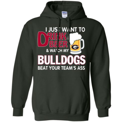 image 466 490x490px Drink beer and watch Georgia Bulldogs beat your team's ass t shirt