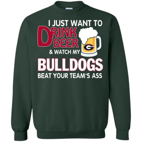 image 469 490x490px Drink beer and watch Georgia Bulldogs beat your team's ass t shirt