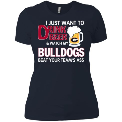 image 472 490x490px Drink beer and watch Georgia Bulldogs beat your team's ass t shirt