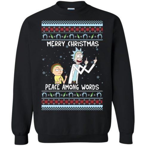 image 486 490x490px Rick and Morty Merry Christmas Peace Among Words Christmas Sweater