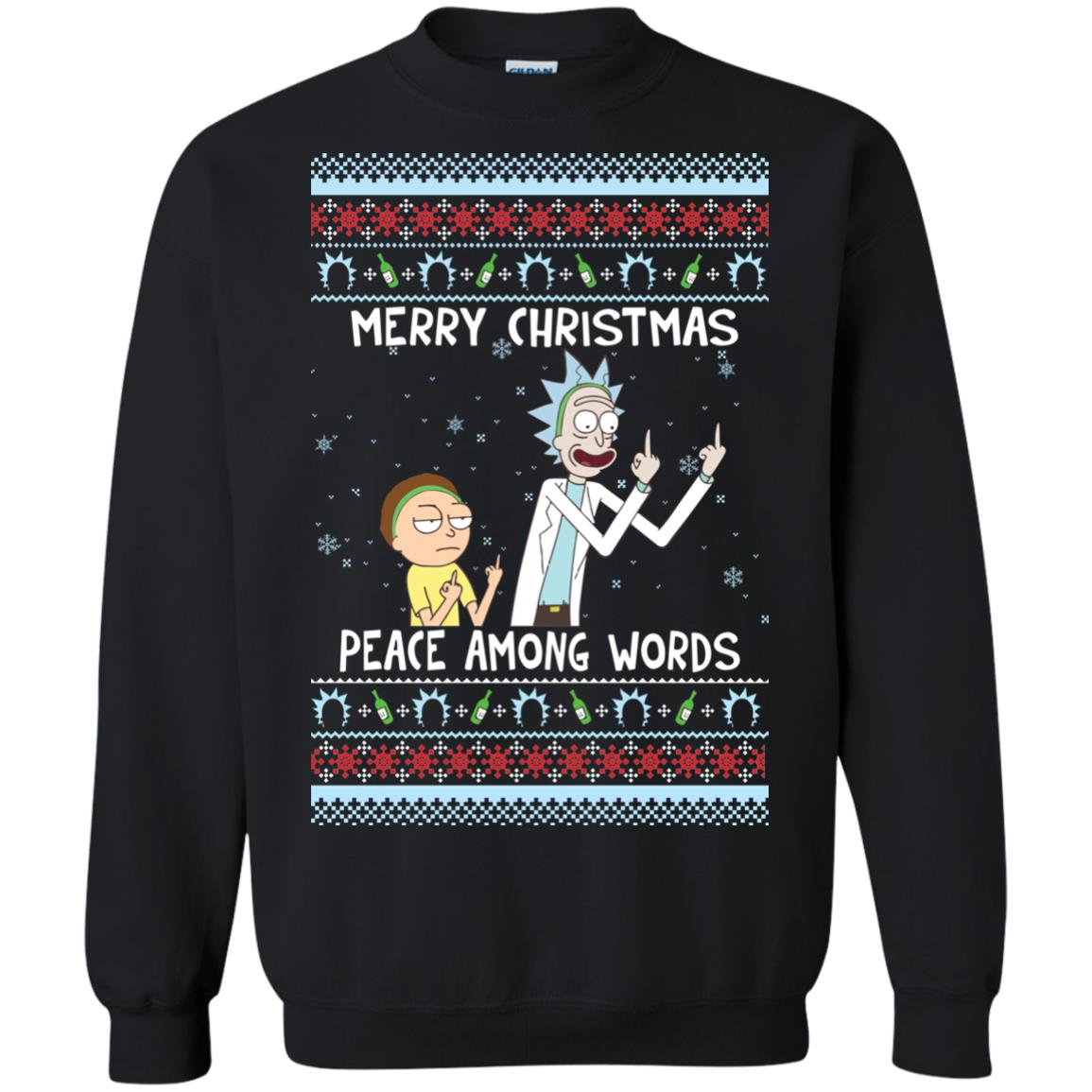 image 486px Rick and Morty Merry Christmas Peace Among Words Christmas Sweater