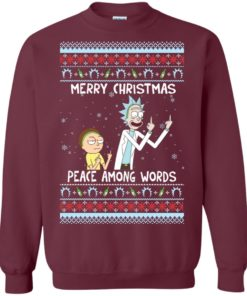 image 487 247x296px Rick and Morty Merry Christmas Peace Among Words Christmas Sweater