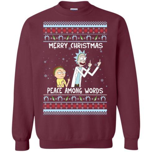 image 487 490x490px Rick and Morty Merry Christmas Peace Among Words Christmas Sweater