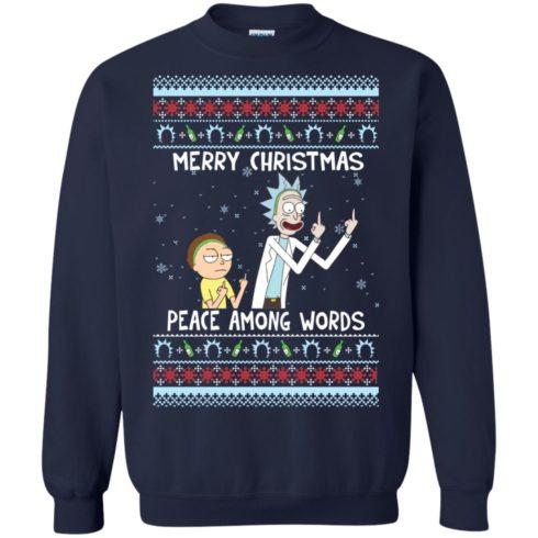 image 488 490x490px Rick and Morty Merry Christmas Peace Among Words Christmas Sweater