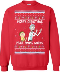 image 489 247x296px Rick and Morty Merry Christmas Peace Among Words Christmas Sweater
