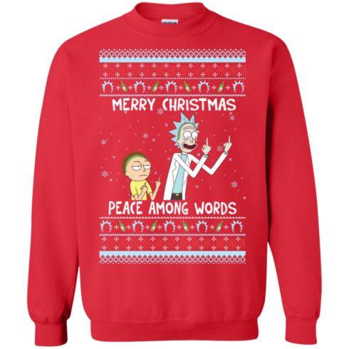 image 489 490x490px Rick and Morty Merry Christmas Peace Among Words Christmas Sweater
