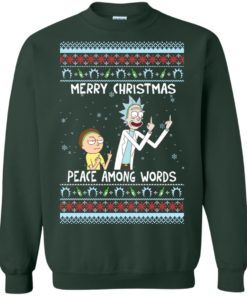 image 490 247x296px Rick and Morty Merry Christmas Peace Among Words Christmas Sweater