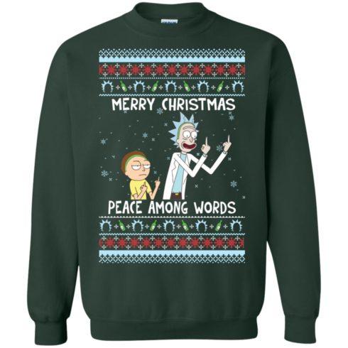 image 490 490x490px Rick and Morty Merry Christmas Peace Among Words Christmas Sweater