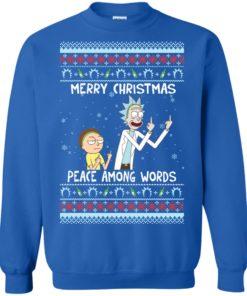 image 491 247x296px Rick and Morty Merry Christmas Peace Among Words Christmas Sweater