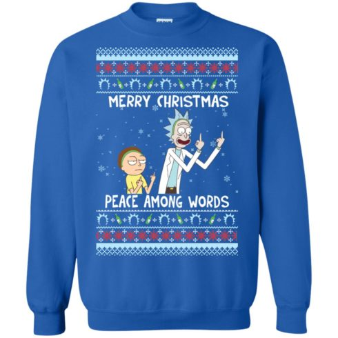 image 491 490x490px Rick and Morty Merry Christmas Peace Among Words Christmas Sweater