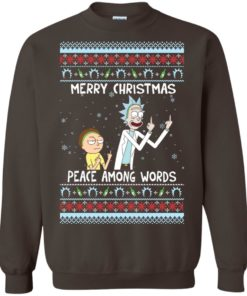 image 492 247x296px Rick and Morty Merry Christmas Peace Among Words Christmas Sweater