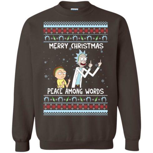 image 492 490x490px Rick and Morty Merry Christmas Peace Among Words Christmas Sweater