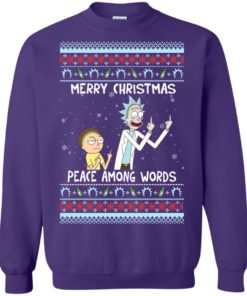 image 493 247x296px Rick and Morty Merry Christmas Peace Among Words Christmas Sweater