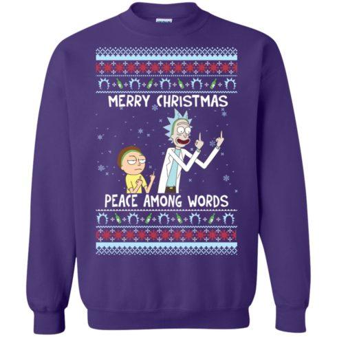 image 493 490x490px Rick and Morty Merry Christmas Peace Among Words Christmas Sweater