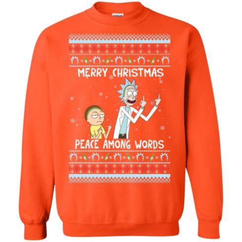 image 494 490x490px Rick and Morty Merry Christmas Peace Among Words Christmas Sweater