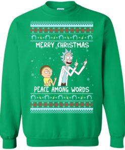 image 495 247x296px Rick and Morty Merry Christmas Peace Among Words Christmas Sweater