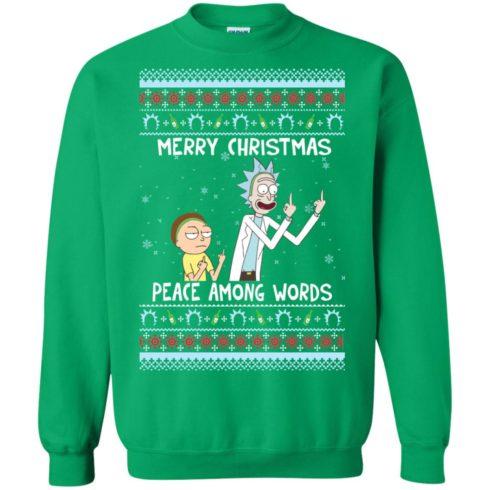 image 495 490x490px Rick and Morty Merry Christmas Peace Among Words Christmas Sweater
