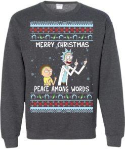 image 496 247x296px Rick and Morty Merry Christmas Peace Among Words Christmas Sweater