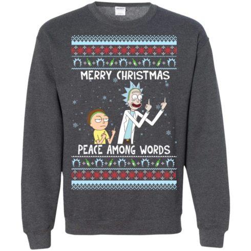 image 496 490x490px Rick and Morty Merry Christmas Peace Among Words Christmas Sweater