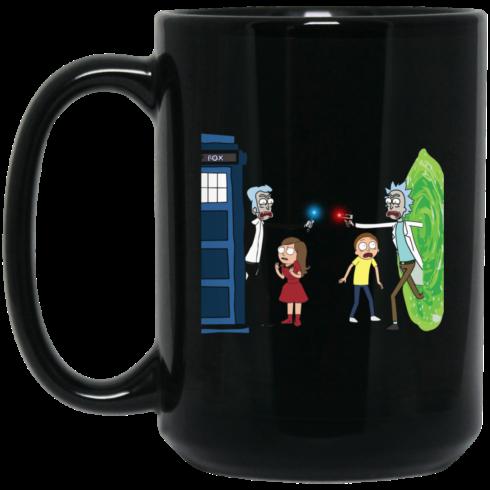 image 5 490x490px Doctor Who vs Rick and Morty Mashup Design Coffee Mug