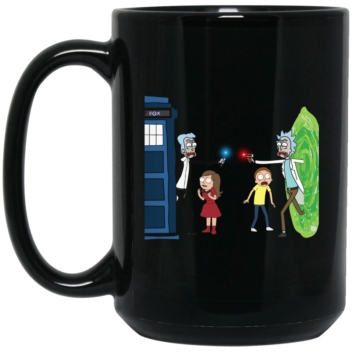 image 5px Doctor Who vs Rick and Morty Mashup Design Coffee Mug
