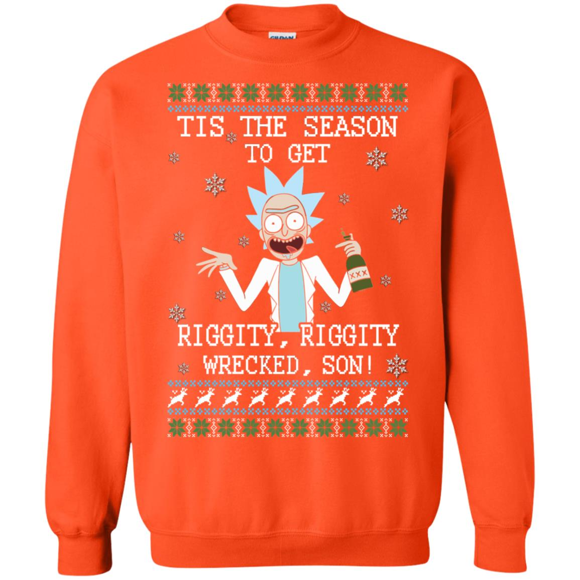 image 585px Rick and Morty Tis The Season To Get Riggity Wrecked Son Christmas Sweater