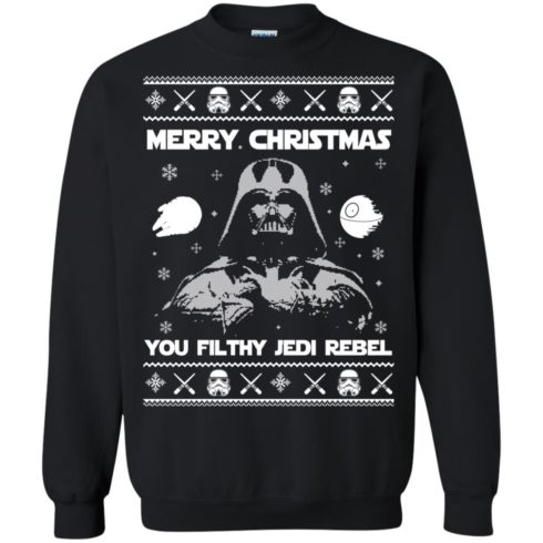 image 732 490x490px Star Wars Merry Christmas You Filthy Jedi Rebel Christmas Sweater