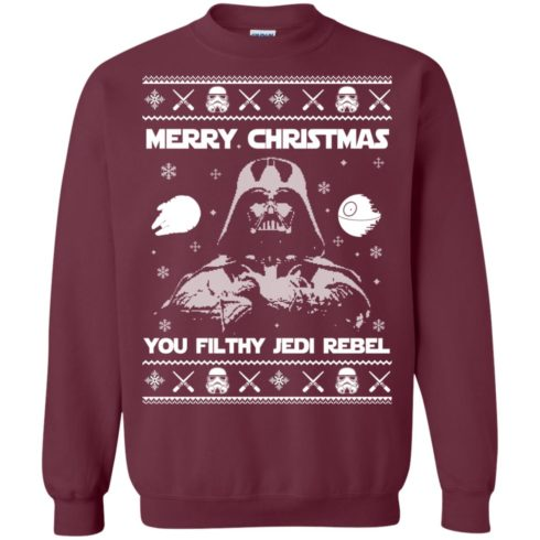 image 733 490x490px Star Wars Merry Christmas You Filthy Jedi Rebel Christmas Sweater