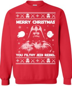 image 735 247x296px Star Wars Merry Christmas You Filthy Jedi Rebel Christmas Sweater