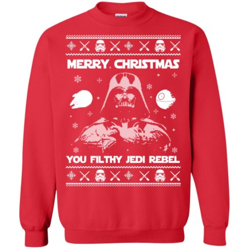 image 735 490x490px Star Wars Merry Christmas You Filthy Jedi Rebel Christmas Sweater