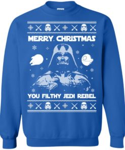 image 737 247x296px Star Wars Merry Christmas You Filthy Jedi Rebel Christmas Sweater