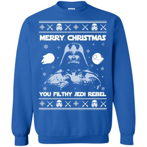 image 737 490x490px Star Wars Merry Christmas You Filthy Jedi Rebel Christmas Sweater