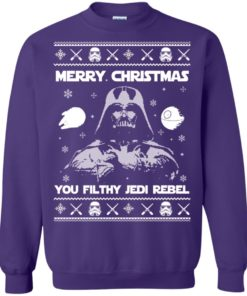 image 739 247x296px Star Wars Merry Christmas You Filthy Jedi Rebel Christmas Sweater