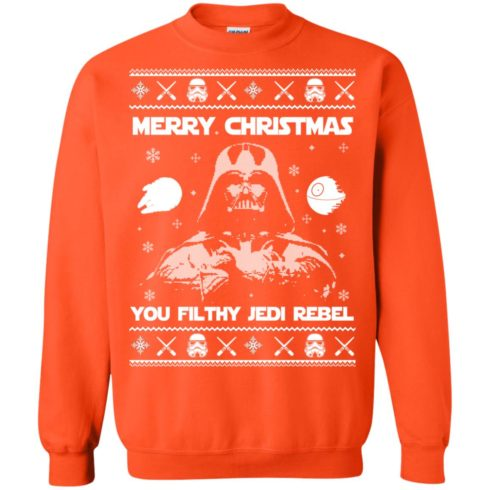image 740 490x490px Star Wars Merry Christmas You Filthy Jedi Rebel Christmas Sweater