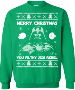 image 741 247x296px Star Wars Merry Christmas You Filthy Jedi Rebel Christmas Sweater