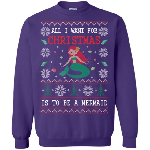 image 772 490x490px All I Want For Christmas Is To Be A Mermaid Christmas Sweater