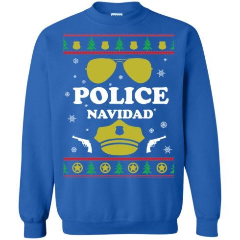 image 100 490x490px Police Navidad Christmas Sweater, Long Sleeve