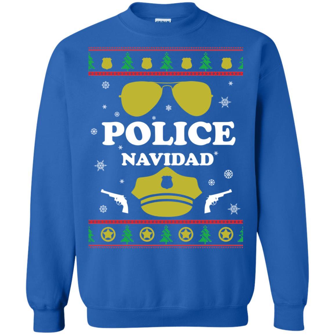 image 100px Police Navidad Christmas Sweater, Long Sleeve