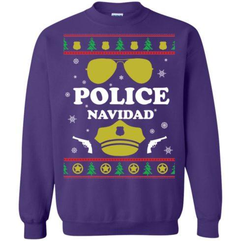 image 101 490x490px Police Navidad Christmas Sweater, Long Sleeve